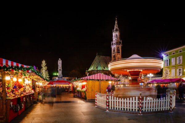 Carousel at the Christmas Market, Vipiteno, Bolzano, Trentino Alto Adige, Italy