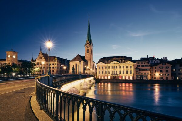 Zurich cityscape at twilight