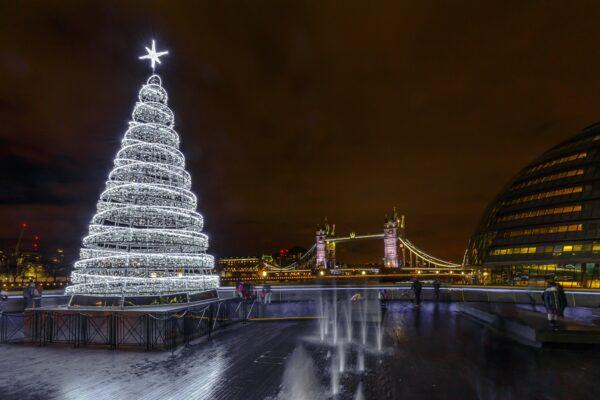 Christmas Tree and London Tower Bridge, UK, England