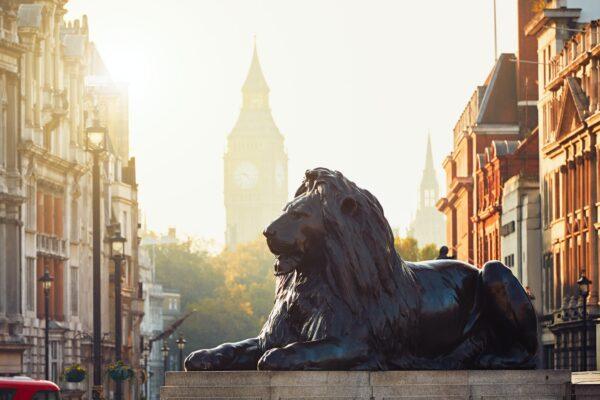 London street at the sunrise